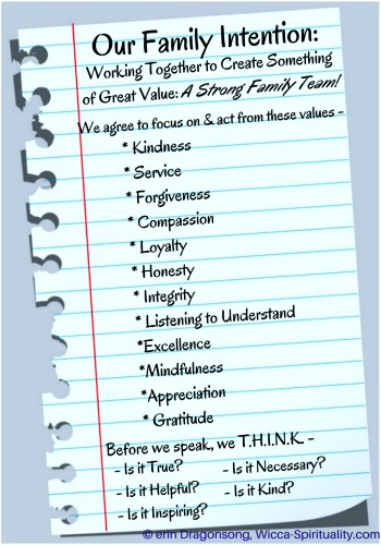 Our Family Team Intention: True Family Values, and T.H.I.N.K. before speaking (5 questions to ask yourself)   © Wicca-Spirituality.com