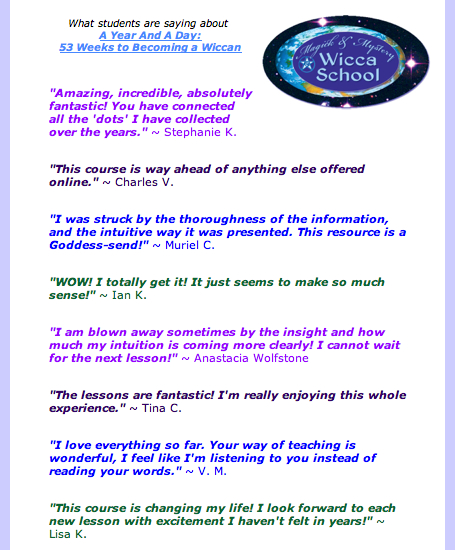 What Students Are Saying About A Year &  A Day  © Wicca-Spirituality.com