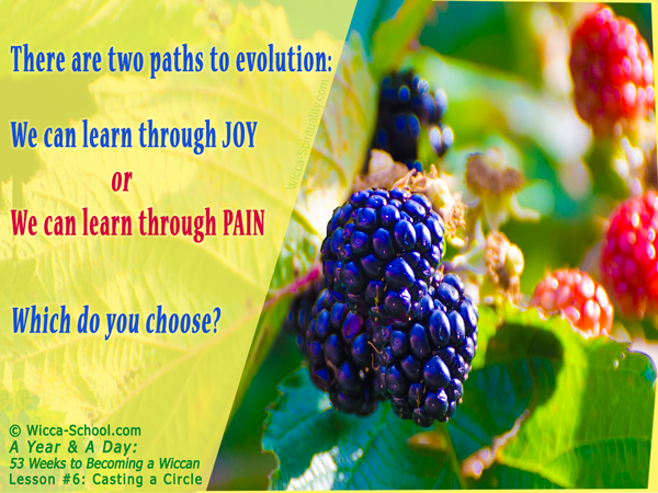 Evolution: Learn through Joy or Learn through Pain  © Wicca-Spirituality.com
