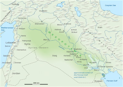 Map of Mesopotamian Region By Goran tek-en [CC BY-SA 3.0 (https://creativecommons.org/licenses/by-sa/3.0)], via Wikimedia Commons © Wicca-Spirituality.com