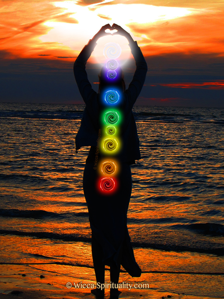 Woman with Chakra Vortices © Wicca-Spirituality.com