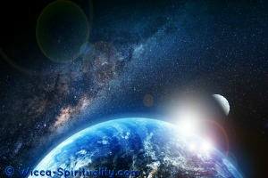 Sunrise over Cosmic Earth  © Wicca-Spirituality.com