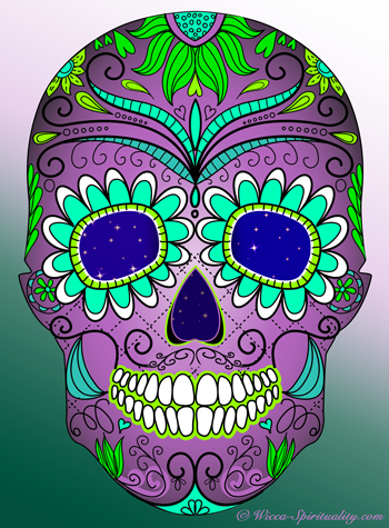 © Wicca Spirituality - Colourful skull