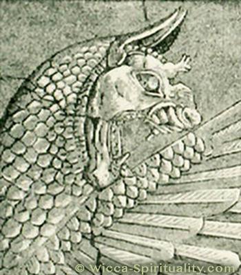 Tiamat Dragon Goddess stone carving, close-up © Wicca-Spirituality.com