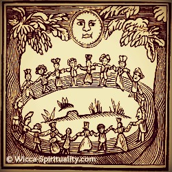 History of Wicca: Witches' Circle Woodcut  © Wicca-Spirituality.com