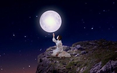 Witchy Woman Touches The Moon© Wicca-Spirituality.com
